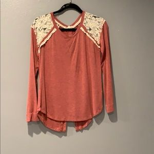 Red long Sleeve Lace Blouse